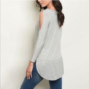 Grey Cold Shoulder Long Sleeve
